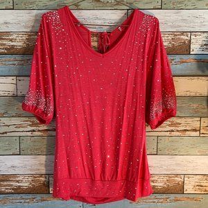 BUCKLE Boutique Red Rhinestone Studded Blouse Sz M
